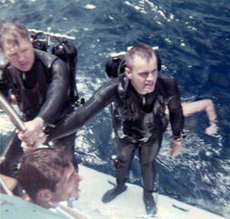 Hal & AJ after surfacing from their World Record Deep Air Dive in 1966